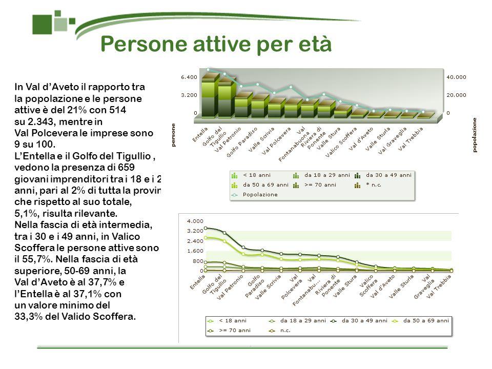 Persone attive per età In Val dAveto il rapporto tra la popolazione e le persone attive è del 21% con 514 su 2.343, mentre in Val Polcevera le imprese