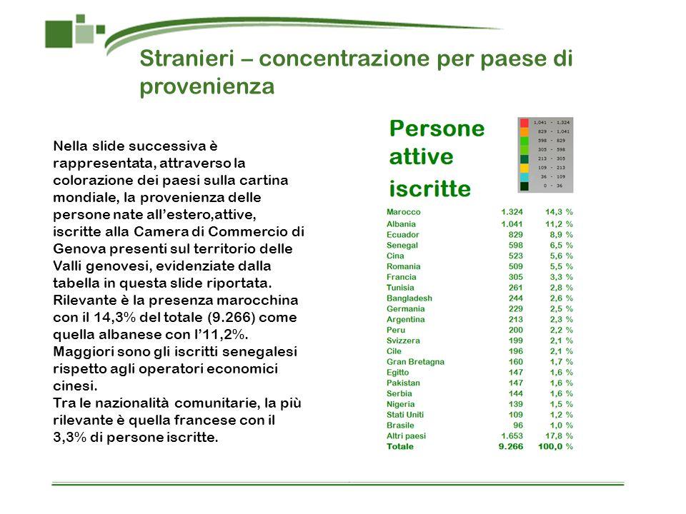 Stranieri – concentrazione per paese di provenienza Nella slide successiva è rappresentata, attraverso la colorazione dei paesi sulla cartina mondiale