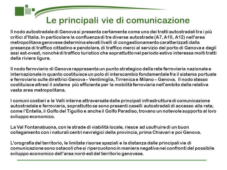 Le principali vie di comunicazione Il nodo autostradale di Genova si presenta certamente come uno dei tratti autostradali tra i più critici d'Italia.