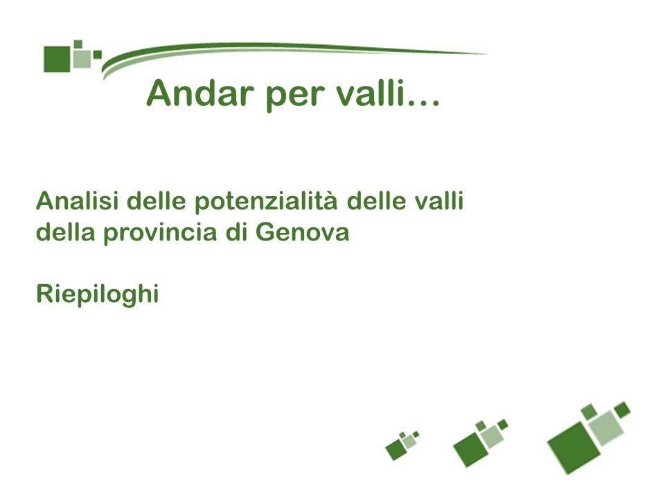 Analisi delle potenzialità delle valli della provincia di Genova Riepiloghi Andar per valli…
