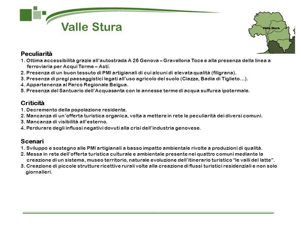 Valle Stura Peculiarità 1. Ottima accessibilità grazie allautostrada A 26 Genova – Gravellona Toce e alla presenza della linea a ferroviaria per Acqui