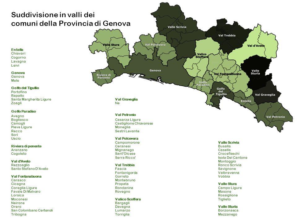 Suddivisione in valli dei comuni della Provincia di Genova Entella Chiavari Cogorno Lavagna Leivi Genova Mele Golfo del Tigullio Portofino Rapallo San