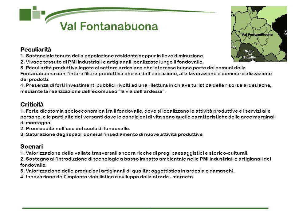 Val Fontanabuona Peculiarità 1. Sostanziale tenuta della popolazione residente seppur in lieve diminuzione. 2. Vivace tessuto di PMI industriali e art