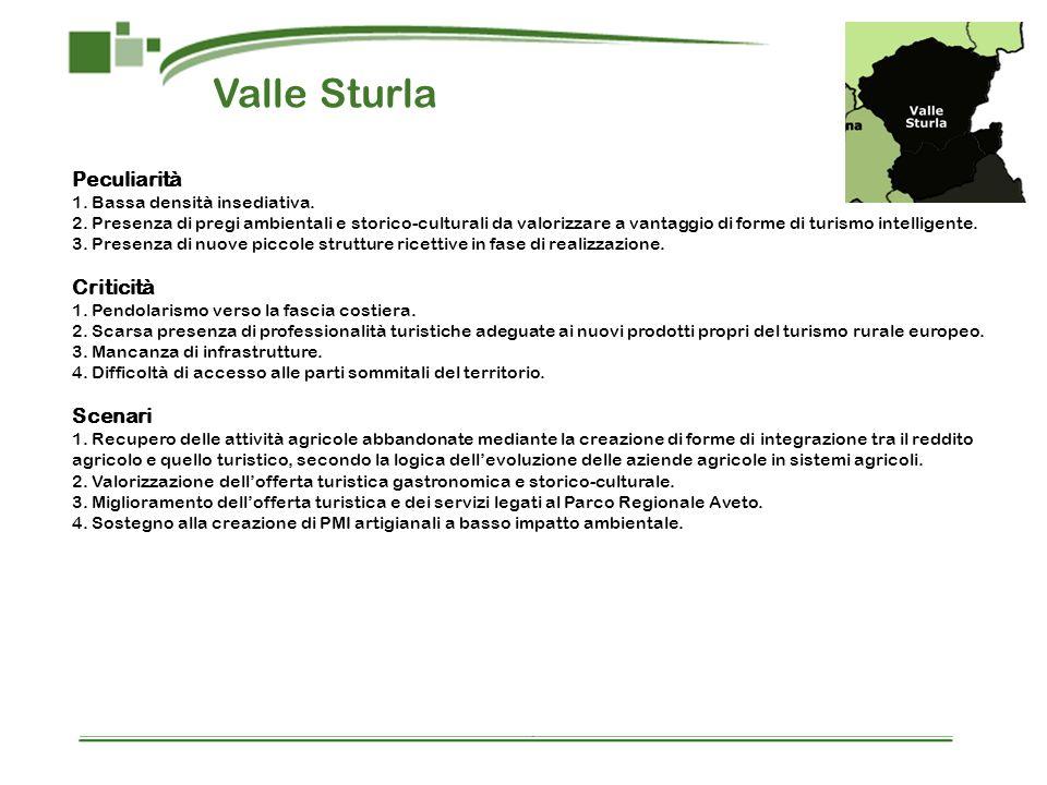 Valle Sturla Peculiarità 1. Bassa densità insediativa. 2. Presenza di pregi ambientali e storico-culturali da valorizzare a vantaggio di forme di turi