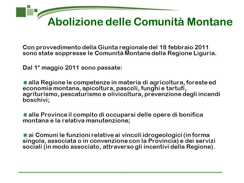 Con provvedimento della Giunta regionale del 18 febbraio 2011 sono state soppresse le Comunità Montane della Regione Liguria. Dal 1° maggio 2011 sono