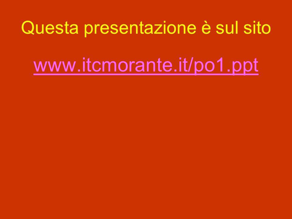 Questa presentazione è sul sito www.itcmorante.it/po1.ppt