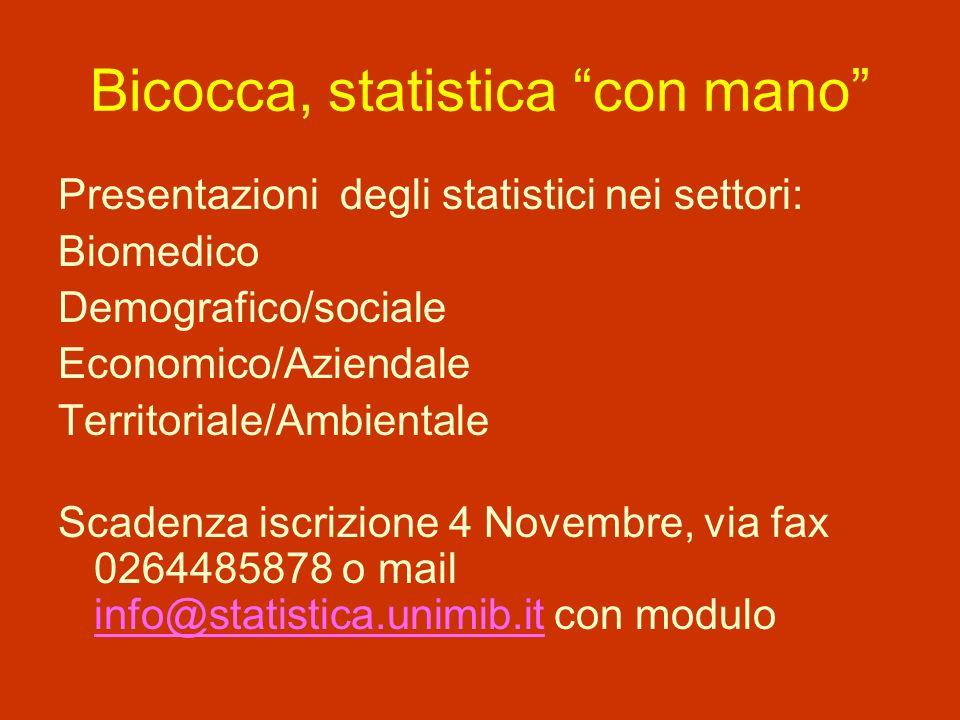 Bicocca, statistica con mano Presentazioni degli statistici nei settori: Biomedico Demografico/sociale Economico/Aziendale Territoriale/Ambientale Scadenza iscrizione 4 Novembre, via fax 0264485878 o mail info@statistica.unimib.it con modulo info@statistica.unimib.it
