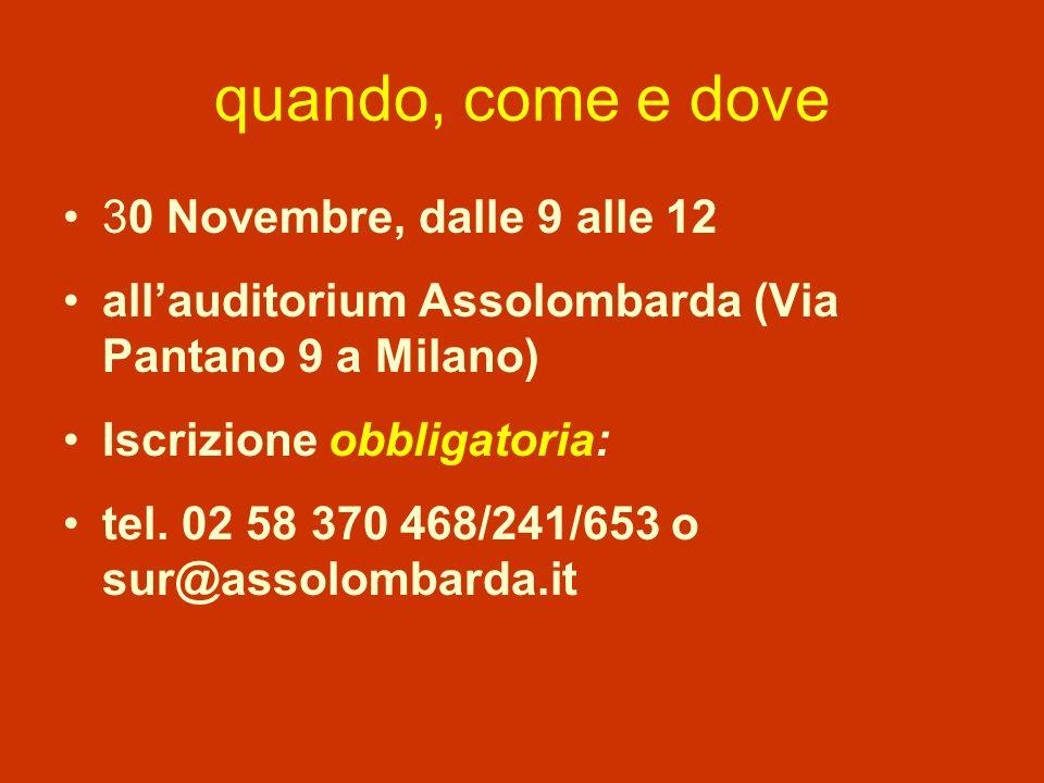 quando, come e dove 30 Novembre, dalle 9 alle 12 allauditorium Assolombarda (Via Pantano 9 a Milano) Iscrizione obbligatoria: tel.