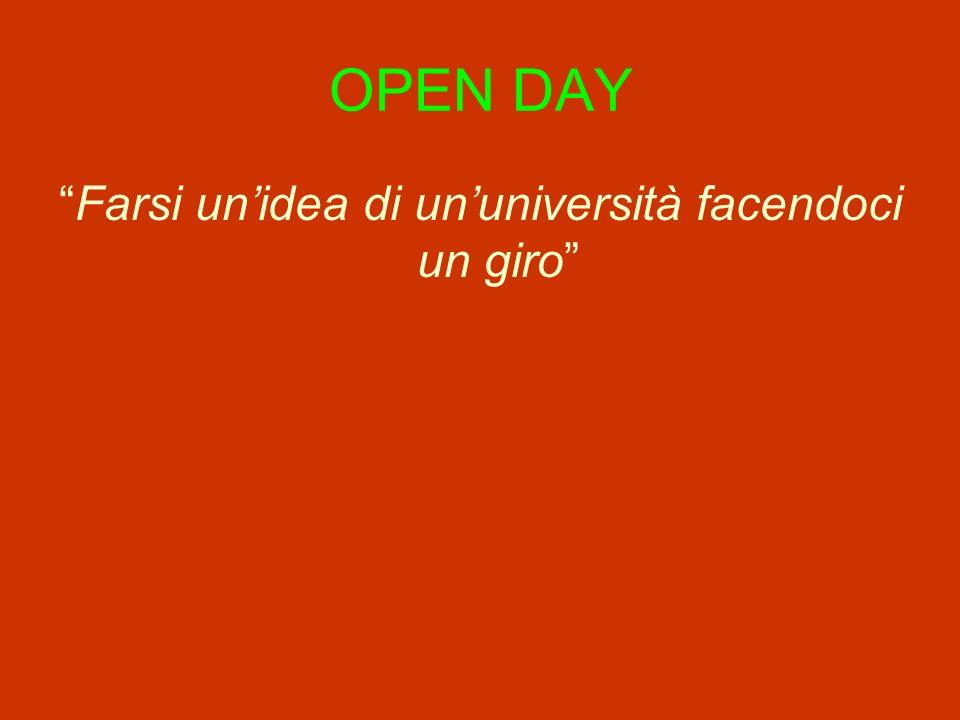 OPEN DAY Farsi unidea di ununiversità facendoci un giro