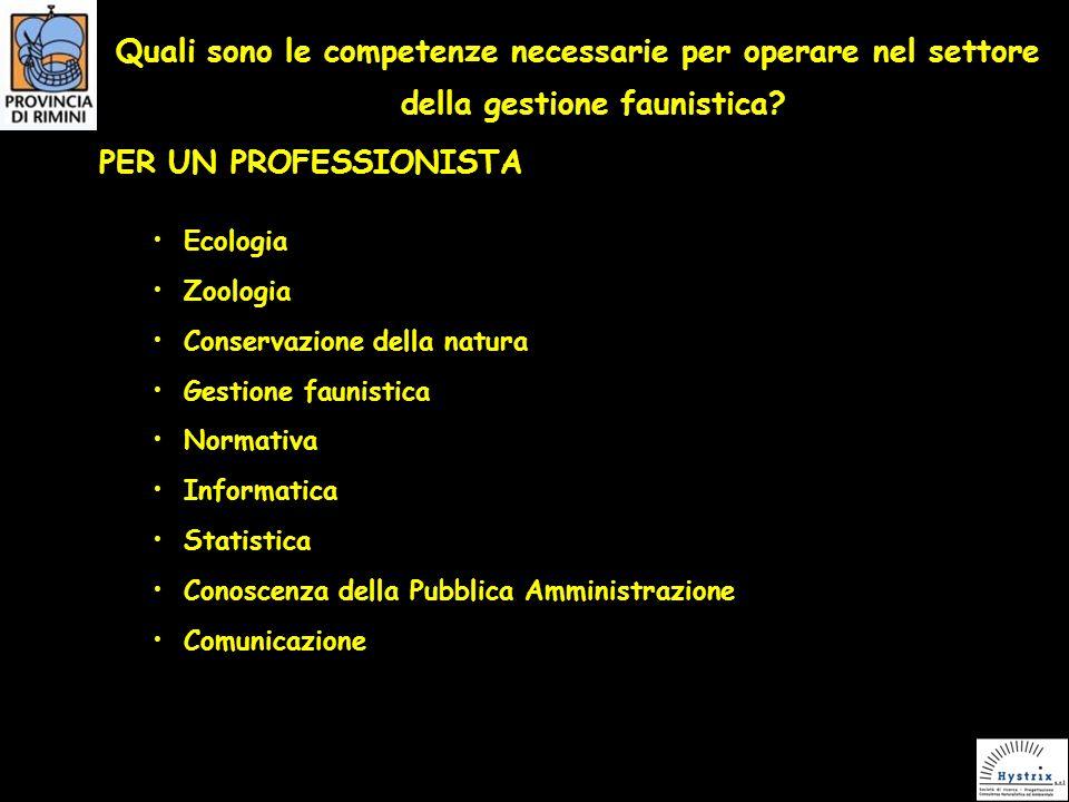 Quali sono le competenze necessarie per operare nel settore della gestione faunistica.