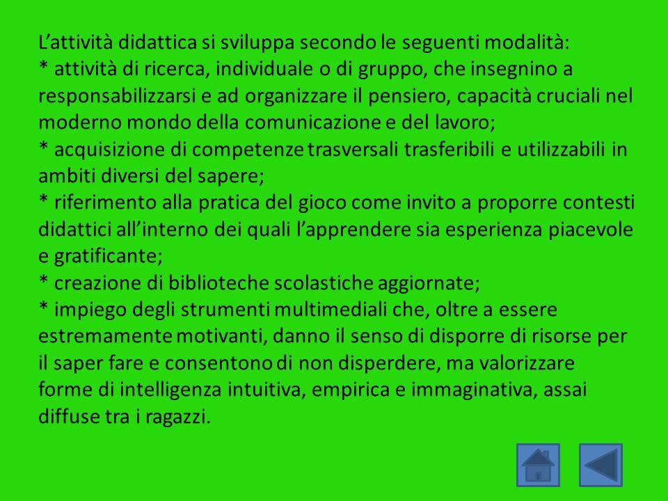 Lattività didattica si sviluppa secondo le seguenti modalità: * attività di ricerca, individuale o di gruppo, che insegnino a responsabilizzarsi e ad
