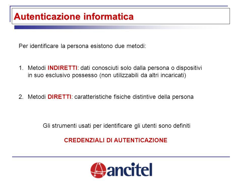 Per identificare la persona esistono due metodi: 1.Metodi INDIRETTI: dati conosciuti solo dalla persona o dispositivi in suo esclusivo possesso (non u