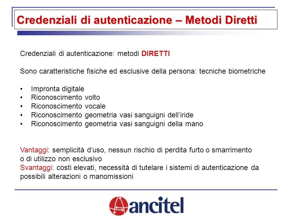 Credenziali di autenticazione: metodi DIRETTI Sono caratteristiche fisiche ed esclusive della persona: tecniche biometriche Impronta digitale Riconosc