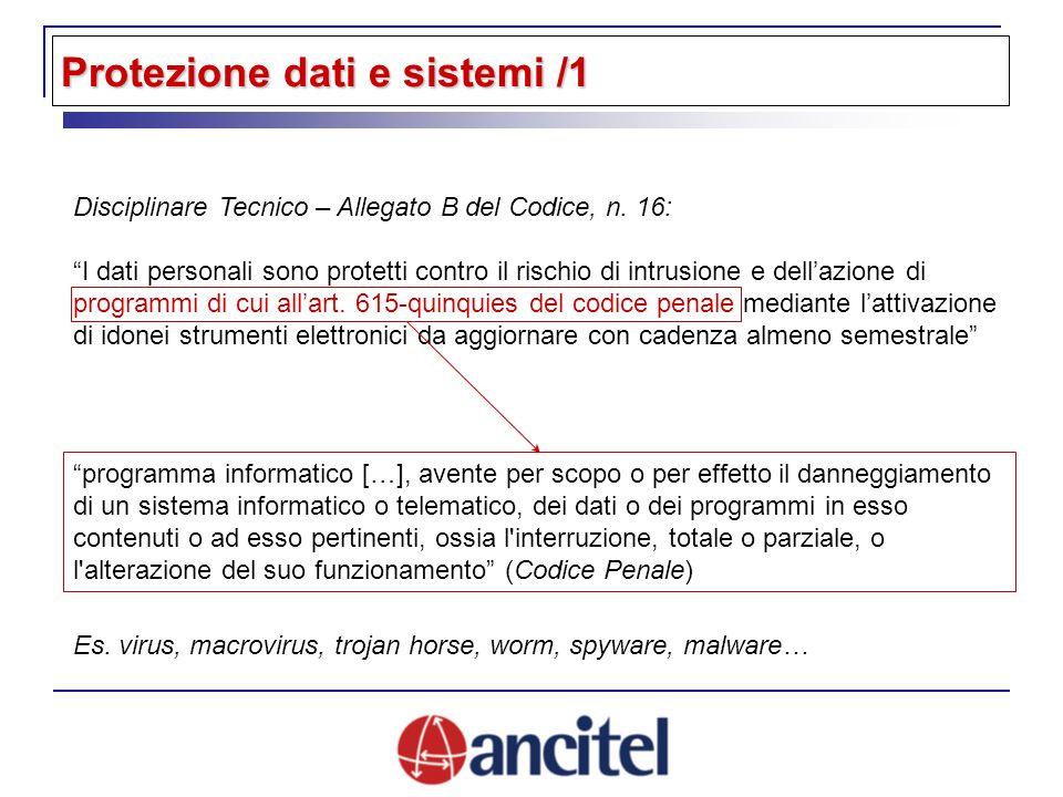 Disciplinare Tecnico – Allegato B del Codice, n. 16: I dati personali sono protetti contro il rischio di intrusione e dellazione di programmi di cui a