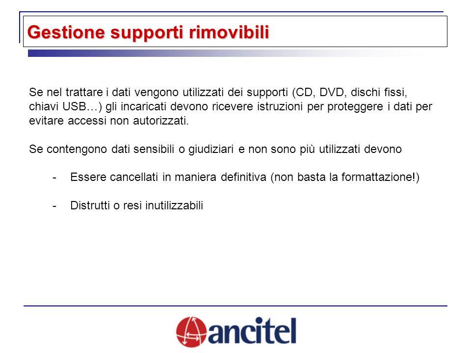 Se nel trattare i dati vengono utilizzati dei supporti (CD, DVD, dischi fissi, chiavi USB…) gli incaricati devono ricevere istruzioni per proteggere i dati per evitare accessi non autorizzati.
