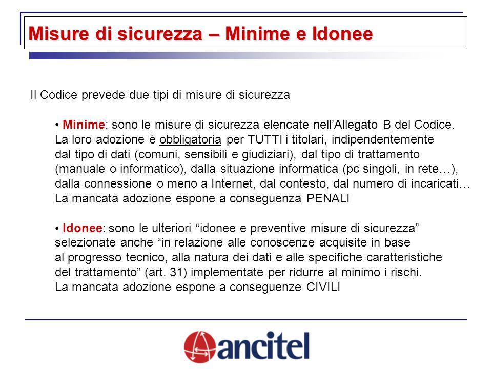 Misure di sicurezza – Minime e Idonee Il Codice prevede due tipi di misure di sicurezza Minime: sono le misure di sicurezza elencate nellAllegato B del Codice.