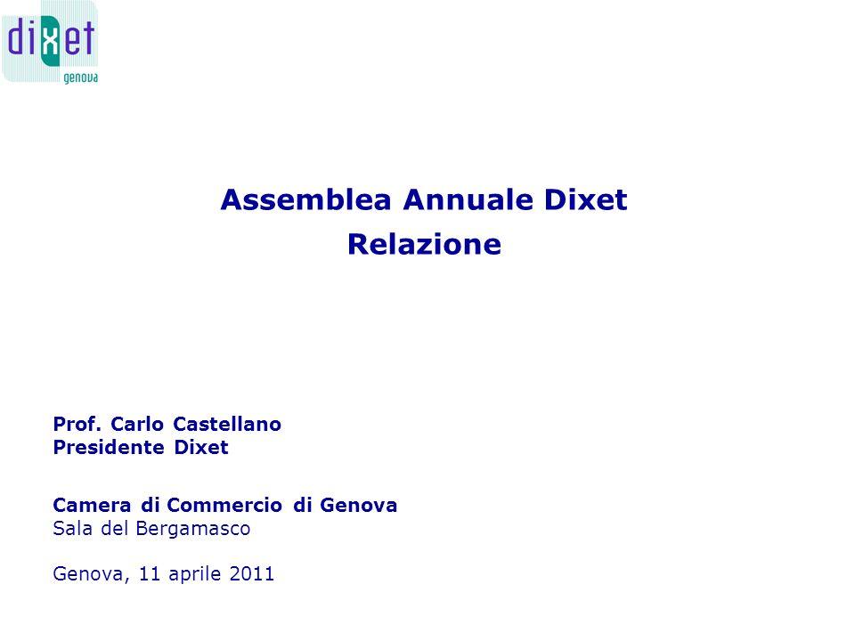 Assemblea Annuale Dixet Relazione Camera di Commercio di Genova Sala del Bergamasco Genova, 11 aprile 2011 Prof.