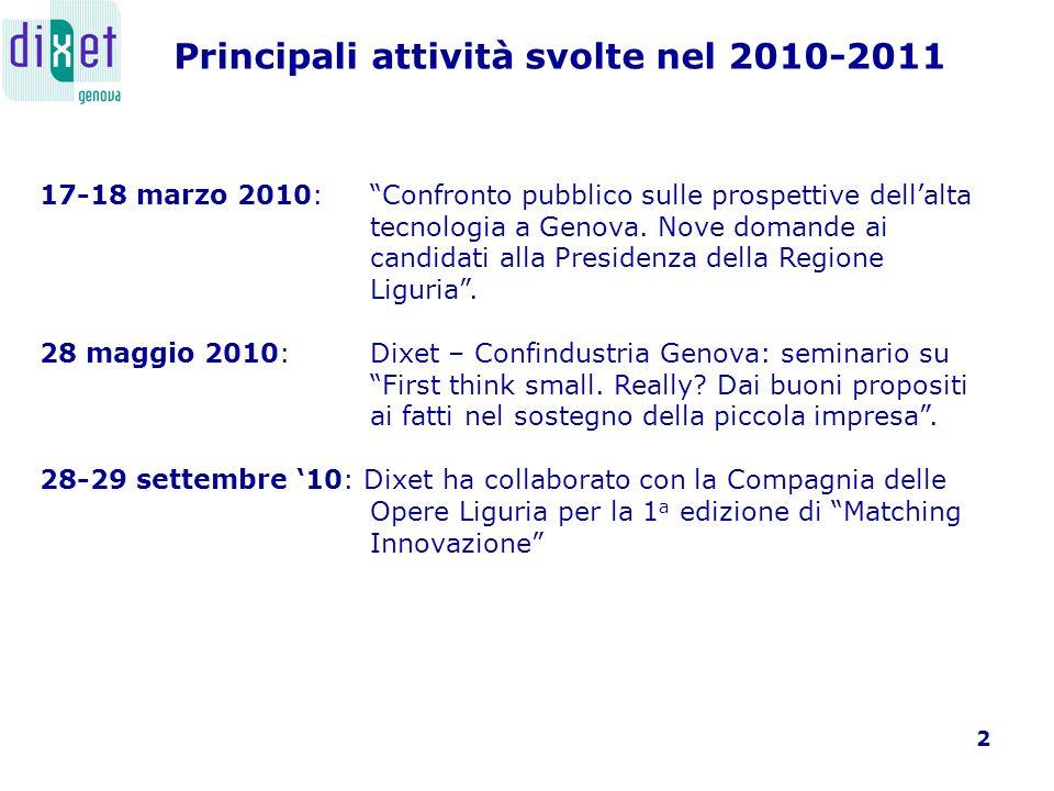3 31 gennaio 2011: Presentazione dei risultati della V Indagine sulle Imprese high-tech operanti a Genova, con Confindustria Genova.