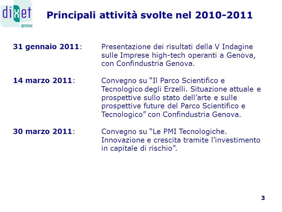 4 Tra il 2009 e il 2010, Dixet ha concentrato la sua attenzione su alcuni temi di particolare importanza, per lo sviluppo delle aziende high tech sul territorio metropolitano genovese.