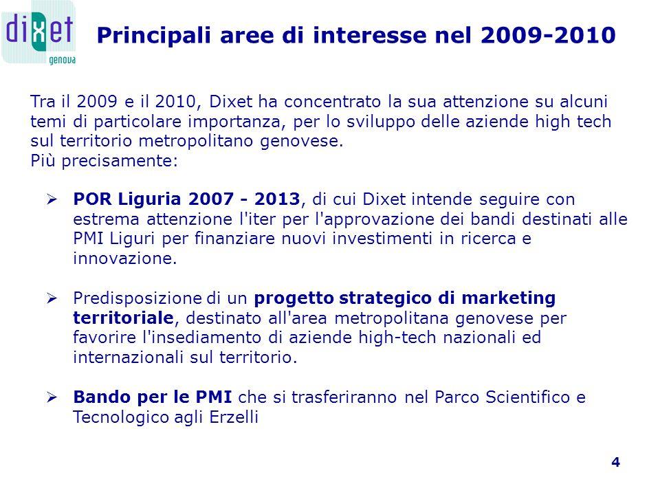 5 Tra il 2009 e il 2010, Dixet ha concentrato la sua attenzione su alcuni temi di particolare importanza, per lo sviluppo delle aziende high tech sul territorio metropolitano genovese.