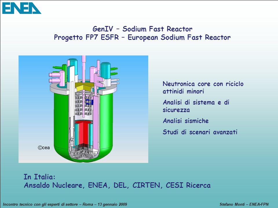 Incontro tecnico con gli esperti di settore – Roma – 13 gennaio 2009Stefano Monti – ENEA-FPN GenIV – Sodium Fast Reactor Progetto FP7 ESFR – European