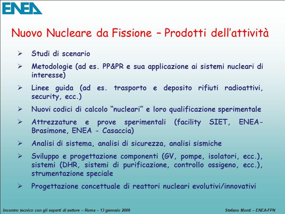 Incontro tecnico con gli esperti di settore – Roma – 13 gennaio 2009Stefano Monti – ENEA-FPN Studi di scenario Metodologie (ad es. PP&PR e sua applica