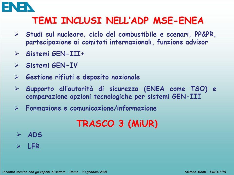 Incontro tecnico con gli esperti di settore – Roma – 13 gennaio 2009Stefano Monti – ENEA-FPN I Programmi Nazionali & Le Iniziative Internazionali AdP MSE TRASCO - MiUR EII + EERA + Euratom-Rosatom SNE-TP