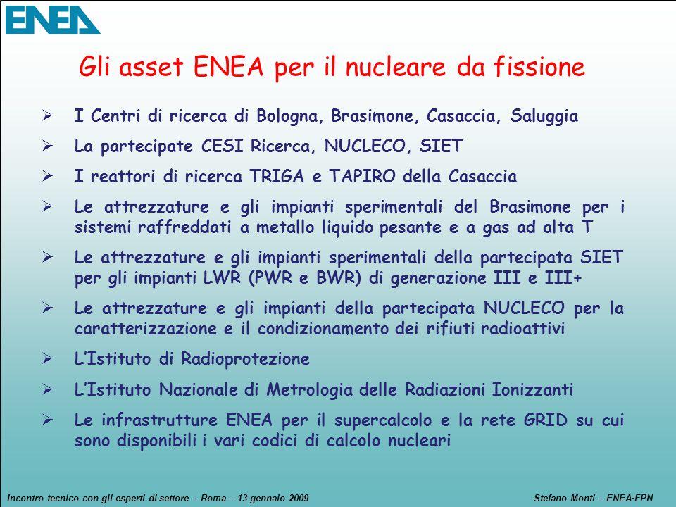 Incontro tecnico con gli esperti di settore – Roma – 13 gennaio 2009Stefano Monti – ENEA-FPN I Centri di ricerca di Bologna, Brasimone, Casaccia, Salu