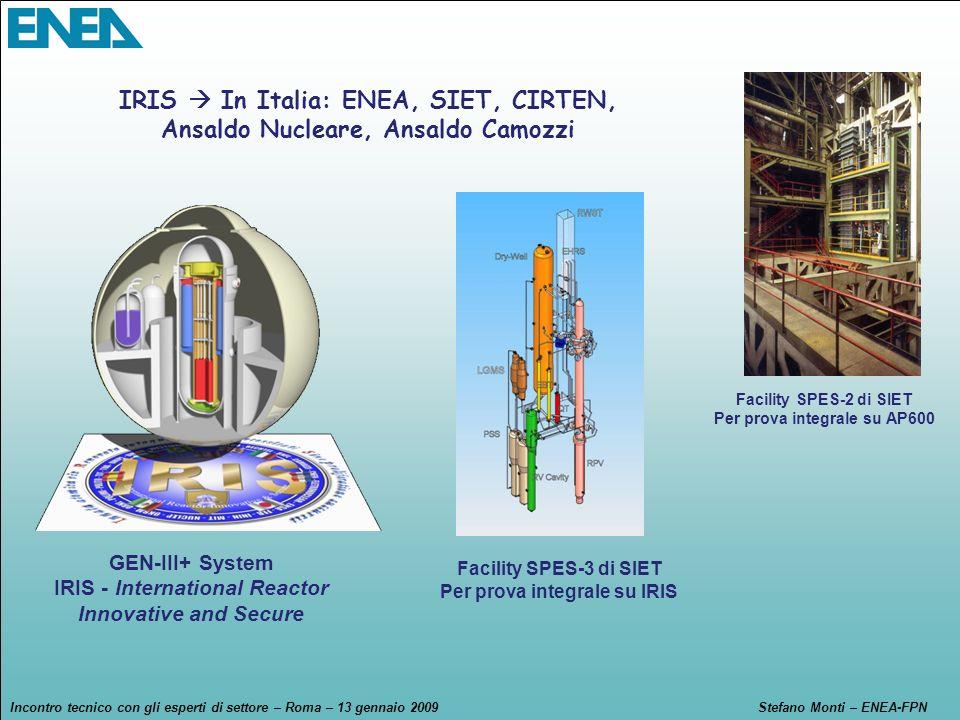 Incontro tecnico con gli esperti di settore – Roma – 13 gennaio 2009Stefano Monti – ENEA-FPN GEN-III+ System IRIS - International Reactor Innovative a
