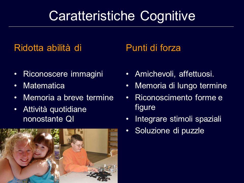 Caratteristiche Cognitive Ridotta abilità di Riconoscere immagini Matematica Memoria a breve termine Attività quotidiane nonostante QI Punti di forza