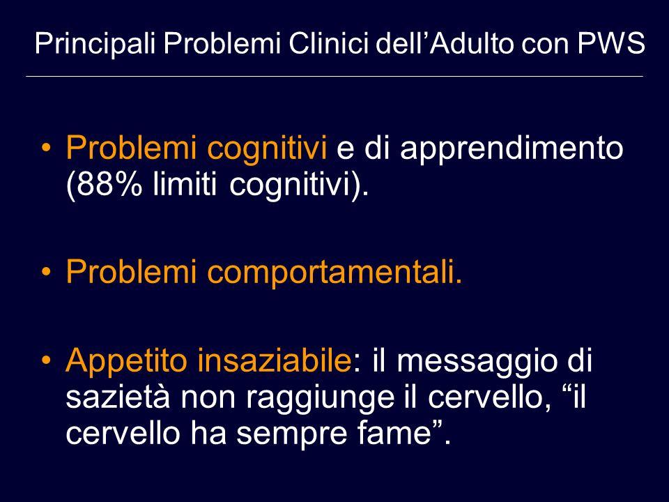 Problemi cognitivi e di apprendimento (88% limiti cognitivi). Problemi comportamentali. Appetito insaziabile: il messaggio di sazietà non raggiunge il