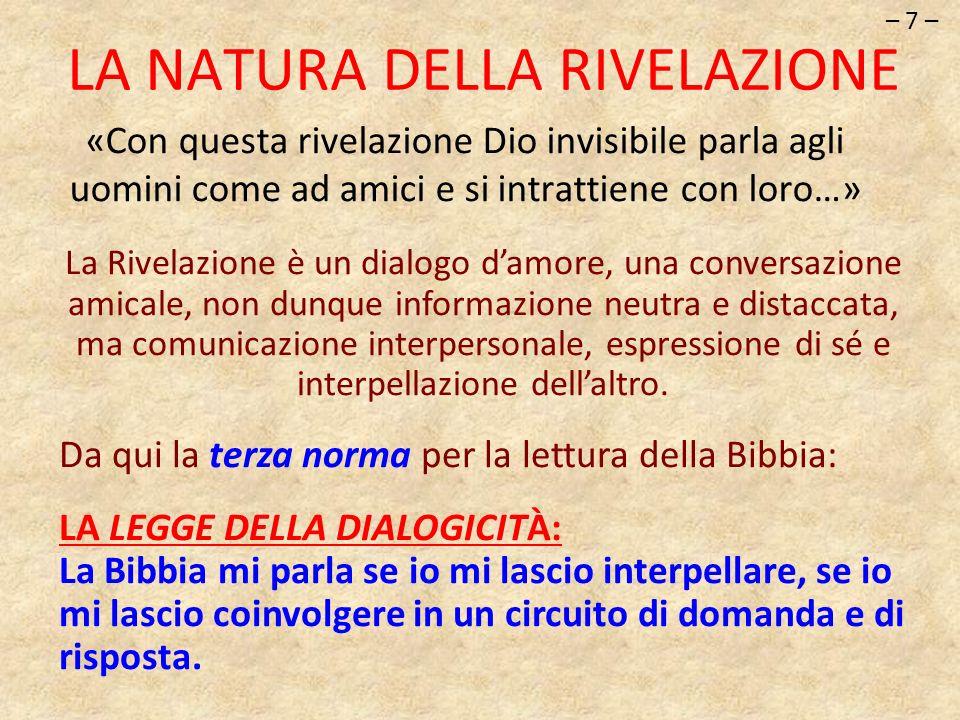 «Con questa rivelazione Dio invisibile parla agli uomini come ad amici e si intrattiene con loro…» – 7 – LA NATURA DELLA RIVELAZIONE La Rivelazione è