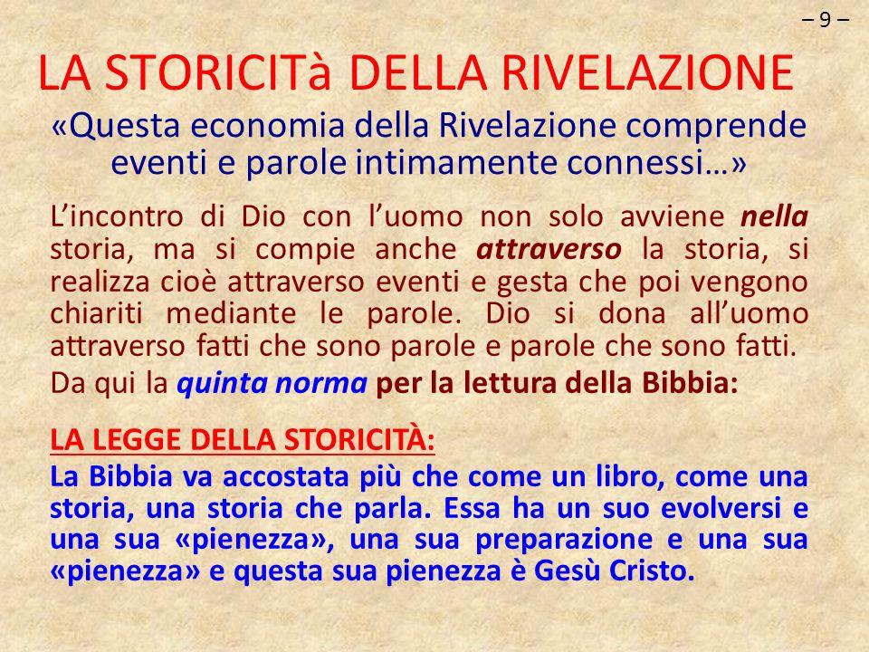 « Questa economia della Rivelazione comprende eventi e parole intimamente connessi …» LA STORICITà DELLA RIVELAZIONE Lincontro di Dio con luomo non so