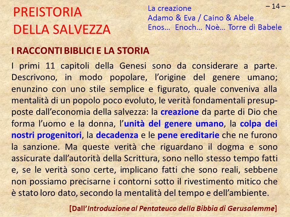 – 14 – PREISTORIA DELLA SALVEZZA I RACCONTI BIBLICI E LA STORIA I primi 11 capitoli della Genesi sono da considerare a parte. Descrivono, in modo popo