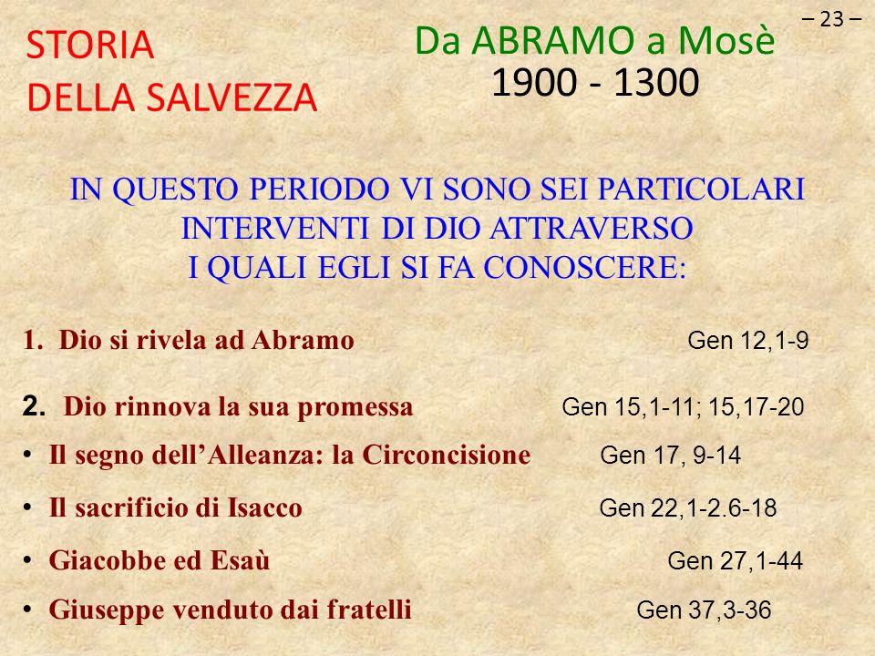 – 23 – STORIA DELLA SALVEZZA Da ABRAMO a Mosè 1900 - 1300 IN QUESTO PERIODO VI SONO SEI PARTICOLARI INTERVENTI DI DIO ATTRAVERSO I QUALI EGLI SI FA CO