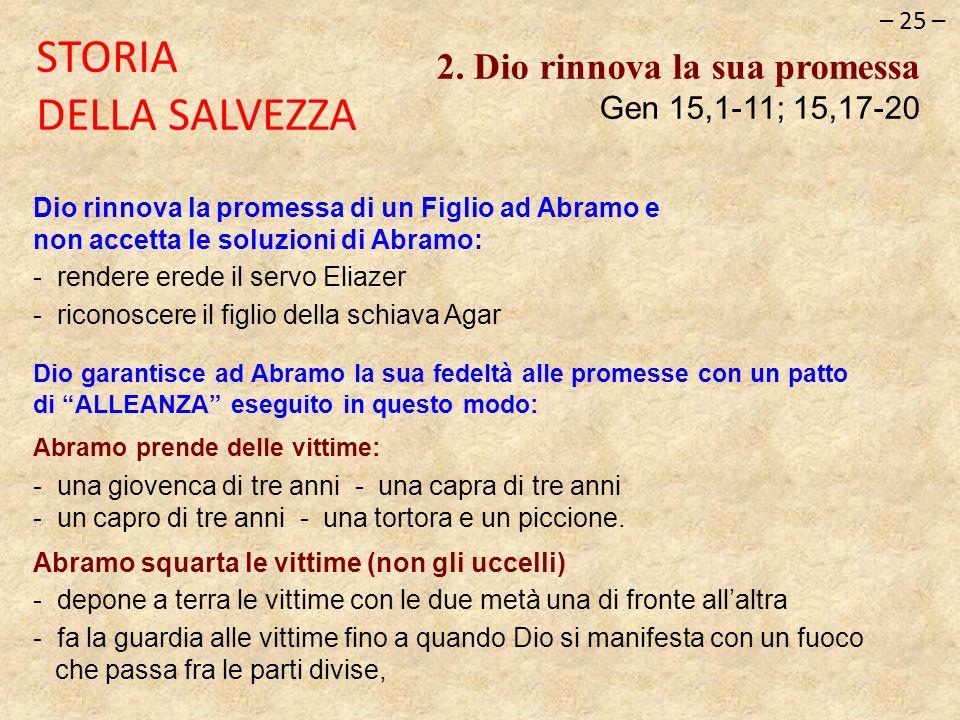 – 25 – STORIA DELLA SALVEZZA 2. Dio rinnova la sua promessa Gen 15,1-11; 15,17-20 Dio rinnova la promessa di un Figlio ad Abramo e non accetta le solu