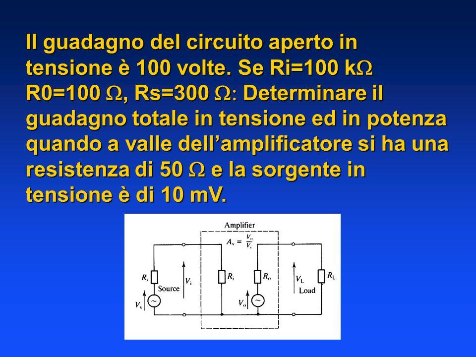 Il guadagno del circuito aperto in tensione è 100 volte. Se Ri=100 k R0=100, Rs=300 Determinare il guadagno totale in tensione ed in potenza quando a