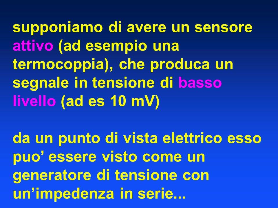 supponiamo di avere un sensore attivo (ad esempio una termocoppia), che produca un segnale in tensione di basso livello (ad es 10 mV) da un punto di v