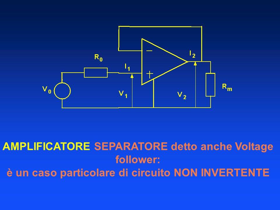 AMPLIFICATORE SEPARATORE detto anche Voltage follower: è un caso particolare di circuito NON INVERTENTE