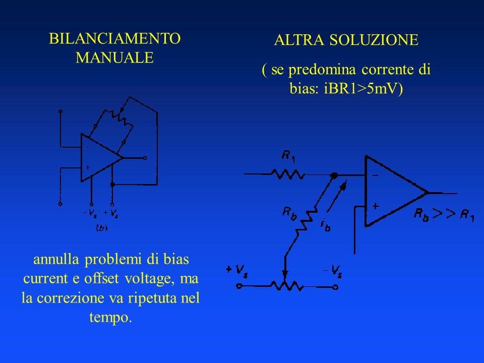 BILANCIAMENTO MANUALE annulla problemi di bias current e offset voltage, ma la correzione va ripetuta nel tempo. ALTRA SOLUZIONE ( se predomina corren