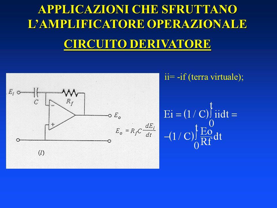 APPLICAZIONI CHE SFRUTTANO LAMPLIFICATORE OPERAZIONALE CIRCUITO DERIVATORE ii= -if (terra virtuale);