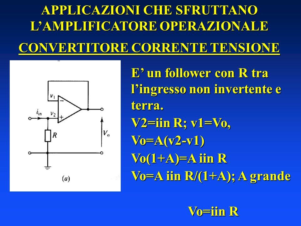 APPLICAZIONI CHE SFRUTTANO LAMPLIFICATORE OPERAZIONALE CONVERTITORE CORRENTE TENSIONE E un follower con R tra lingresso non invertente e terra. V2=iin