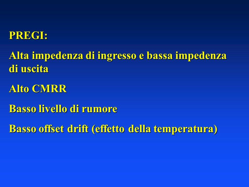 PREGI: Alta impedenza di ingresso e bassa impedenza di uscita Alto CMRR Basso livello di rumore Basso offset drift (effetto della temperatura)