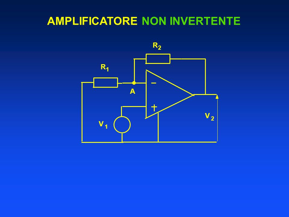 AMPLIFICATORE NON INVERTENTE R 1 V 1 V 2 A R 2