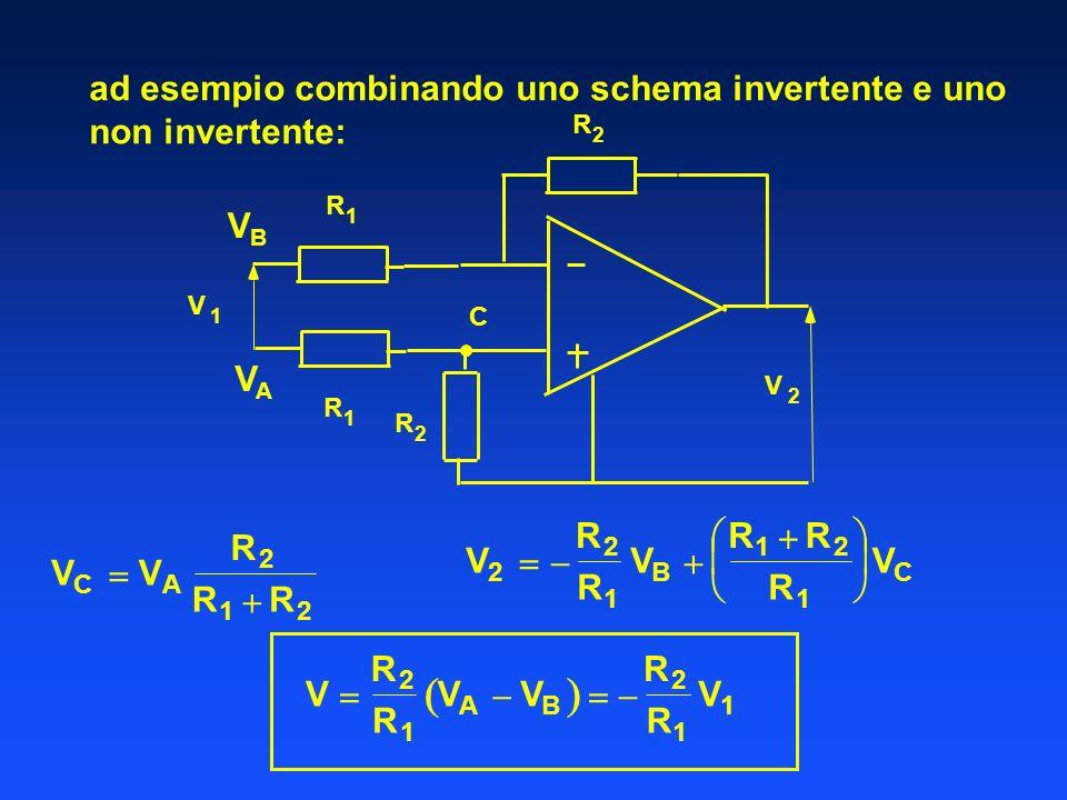 ad esempio combinando uno schema invertente e uno non invertente: R 1 V 1 V 2 C R 1 R 2 R 2 VAVA VBVB V R 2 R 1 V A V B R 2 R 1 V 1 V C V A R 2 R 1 R