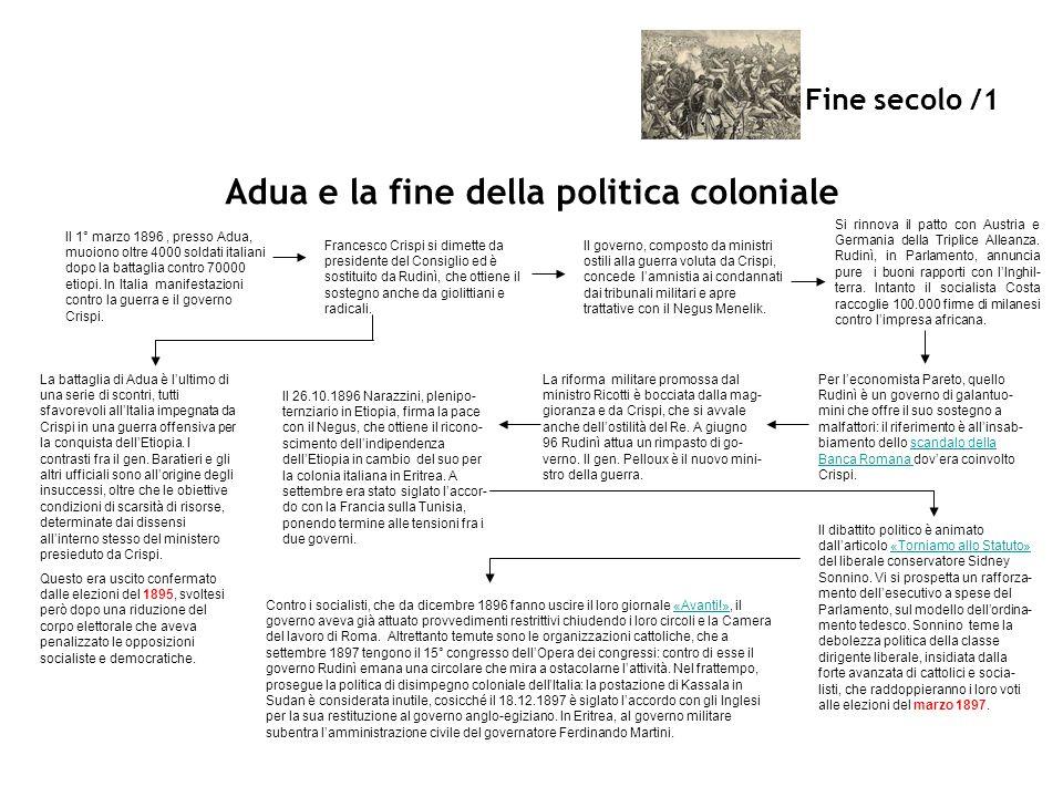 Fine secolo /1 Adua e la fine della politica coloniale Il 1° marzo 1896, presso Adua, muoiono oltre 4000 soldati italiani dopo la battaglia contro 700