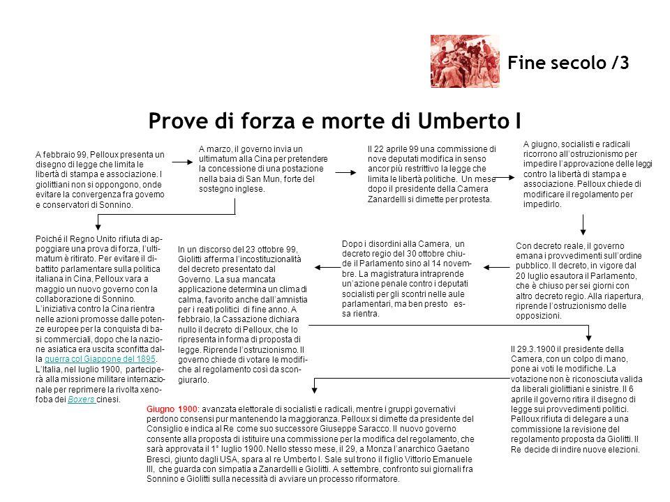 Fine secolo /3 Prove di forza e morte di Umberto I A febbraio 99, Pelloux presenta un disegno di legge che limita le libertà di stampa e associazione.