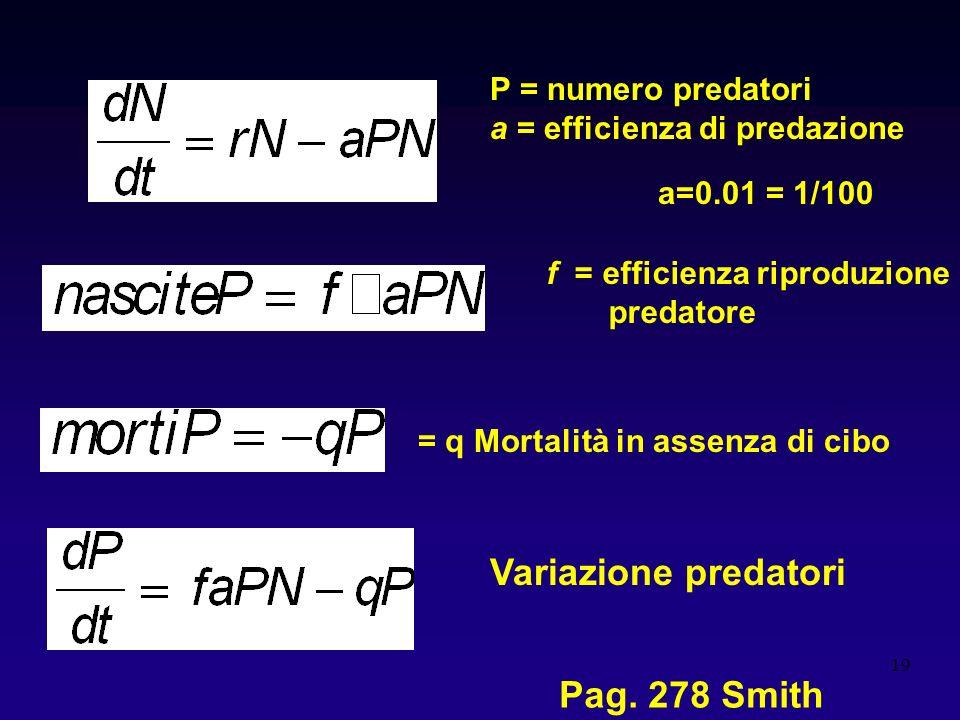 19 P = numero predatori a = efficienza di predazione = q Mortalità in assenza di cibo f = efficienza riproduzione predatore Variazione predatori a=0.0