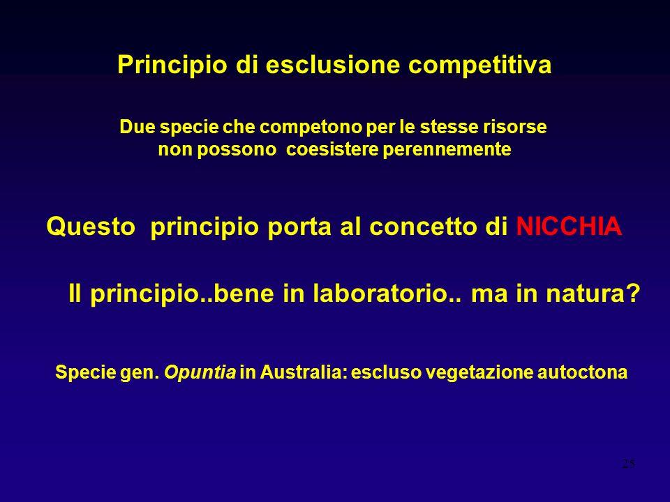 25 Principio di esclusione competitiva Due specie che competono per le stesse risorse non possono coesistere perennemente Questo principio porta al co