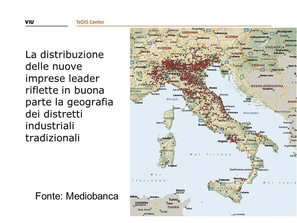 La distribuzione delle nuove imprese leader riflette in buona parte la geografia dei distretti industriali tradizionali 10 Fonte: Mediobanca